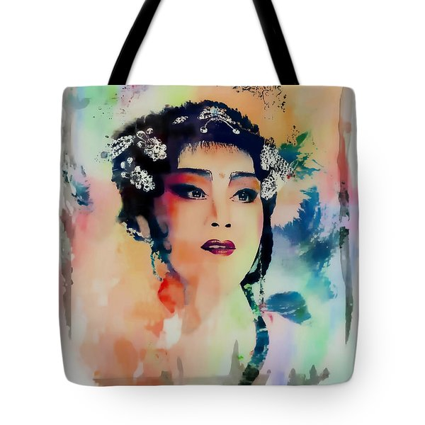 Chinese Cultural Girl - Digital Watercolor  Tote Bag