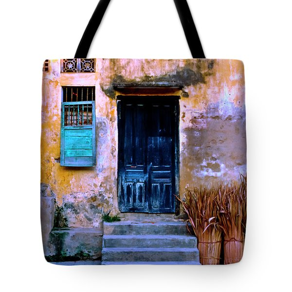 Tote Bag featuring the photograph Chinese Facade Of Hoi An In Vietnam by Silva Wischeropp
