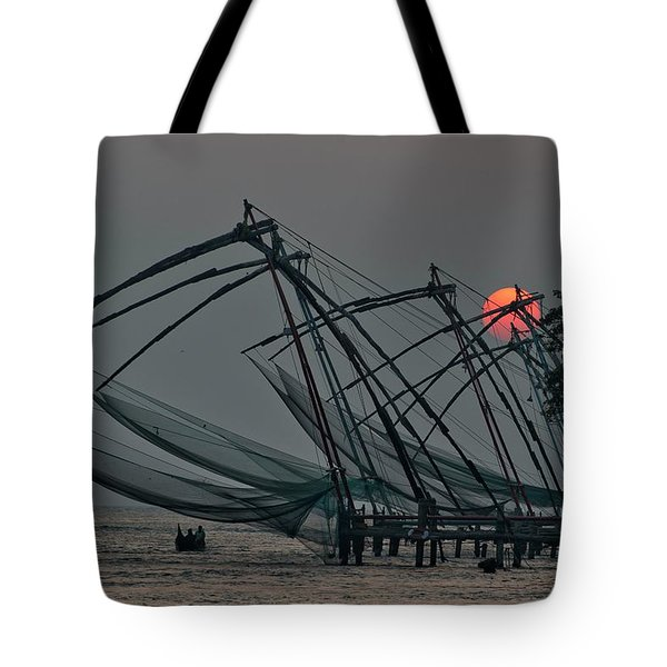 Chinese Fishing Nets, Cochin Tote Bag by Marion Galt