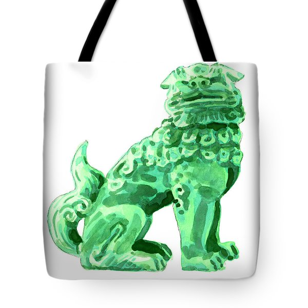 Chinese Foo Dog - Fu Guardian Lion Jade Green Carved Asian Antique Chinoiserie Tote Bag