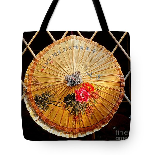 Tote Bag featuring the photograph Chinese Hand-painted Oil-paper Umbrella by Yali Shi