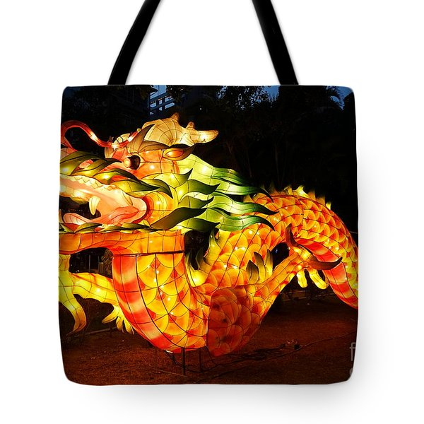 Tote Bag featuring the photograph Chinese Lantern In The Shape Of A Dragon by Yali Shi