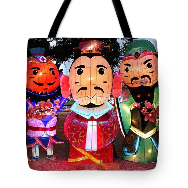 Tote Bag featuring the photograph Chinese Lanterns In The Shape Of Three Wise Men by Yali Shi
