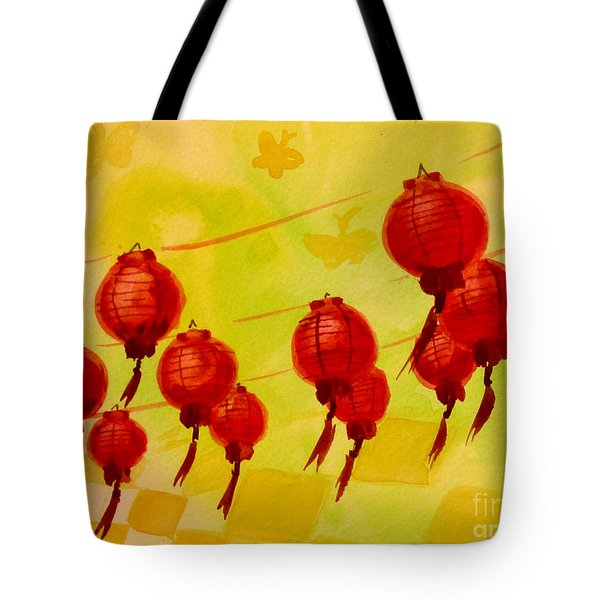 Tote Bag featuring the painting Chinese Lanterns by Maria Langgle