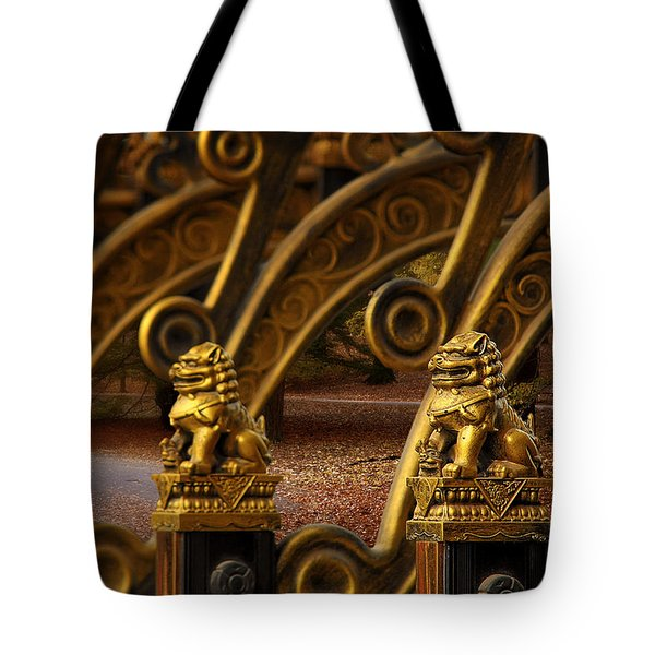 Chinese Lions - Luck Prosperity Power Grandeur Tote Bag by Christine Till