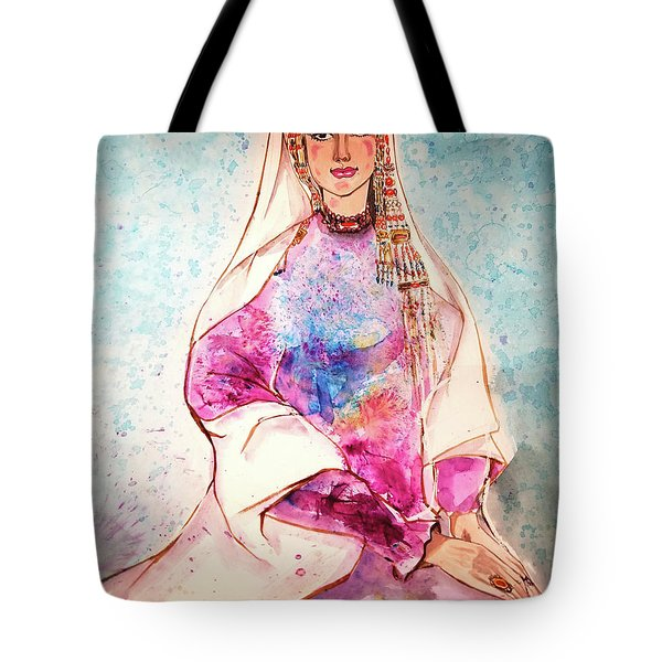 Chinese Minority Woman With Ocean Blue Background Tote Bag