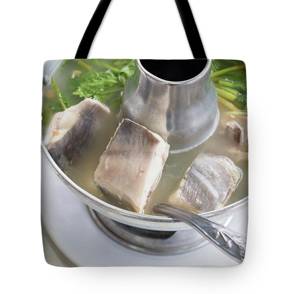 Tote Bag featuring the photograph Chinese Silver Pomfret Soup by Atiketta Sangasaeng