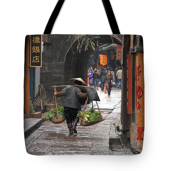 Chinese Woman Carrying Vegetables Tote Bag