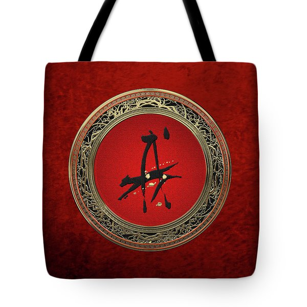Chinese Zodiac - Year Of The Dog On Red Velvet Tote Bag