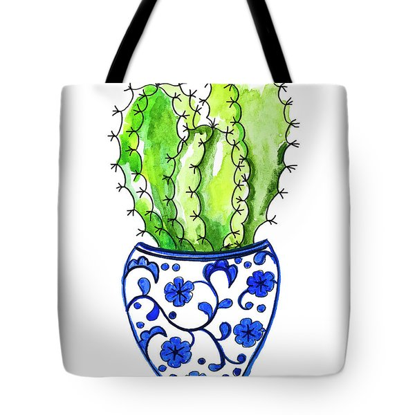Chinoiserie Cactus No3 Tote Bag