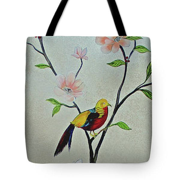 Chinoiserie - Magnolias And Birds #1 Tote Bag