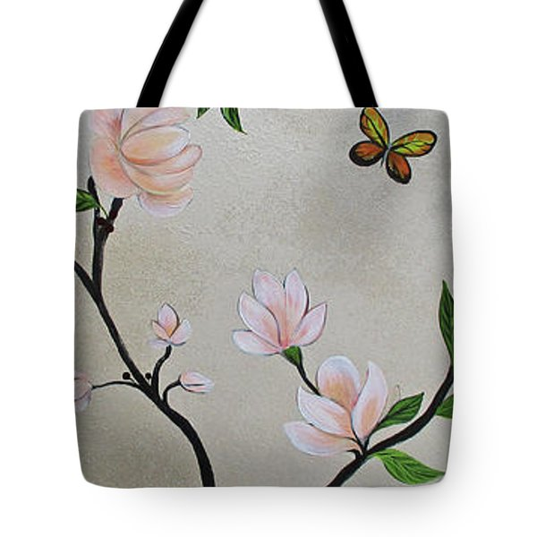 Chinoiserie - Magnolias And Birds #3 Tote Bag