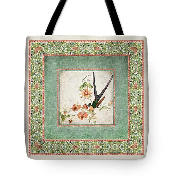 Chinoiserie Vintage Hummingbirds N Flowers 3 Tote Bag by Audrey Jeanne Roberts