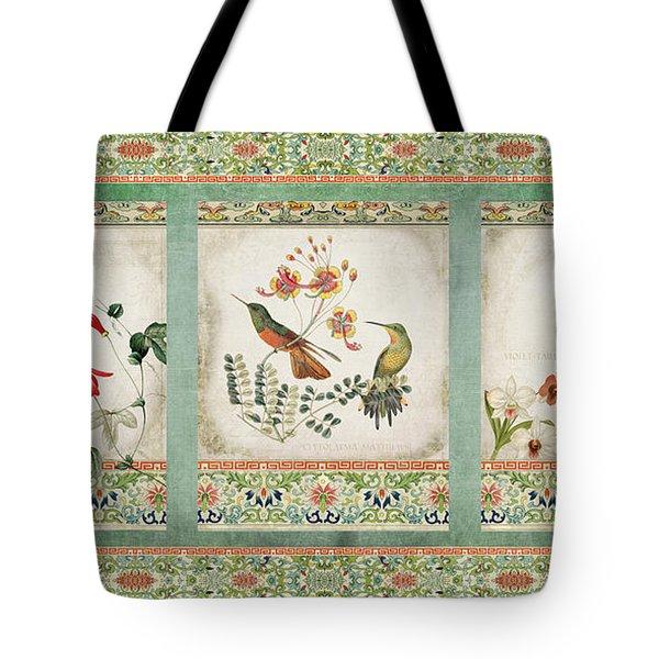 Triptych - Chinoiserie Vintage Hummingbirds N Flowers Tote Bag
