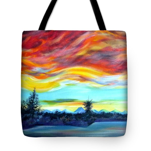 Tote Bag featuring the painting Chinook Arch Over Bow River by Anna  Duyunova