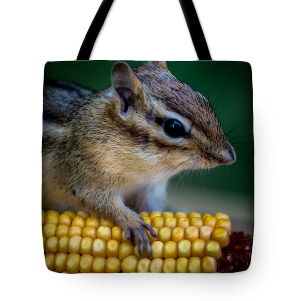 Chipmunk Goes Wild For Corn Tote Bag
