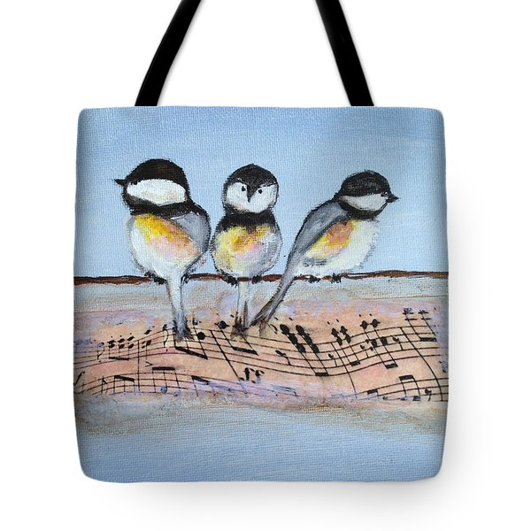 Chirpy Chickadees Tote Bag by Roxy Rich