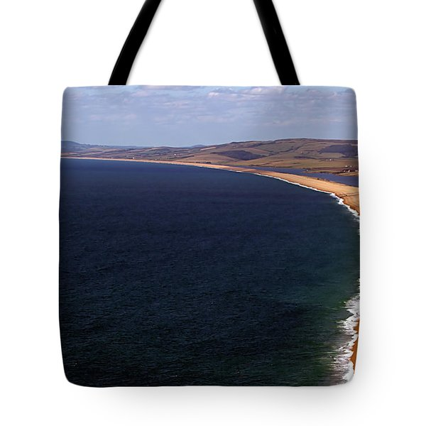 Tote Bag featuring the photograph Chesill Beach Dorset by Baggieoldboy