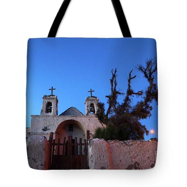 Chiu Chiu Church At Twilight Chile Tote Bag by James Brunker