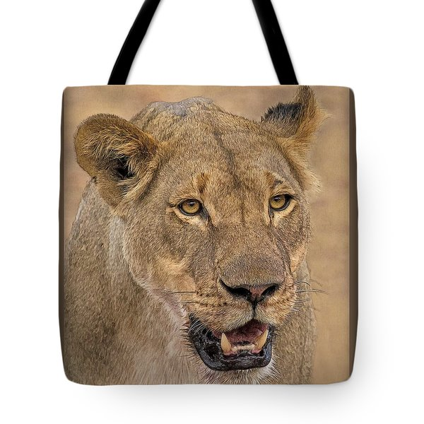 Tote Bag featuring the digital art Chobe Lioness by Larry Linton