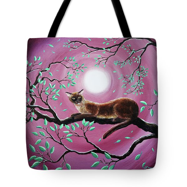 Chocolate Burmese Cat In Dancing Leaves Tote Bag by Laura Iverson
