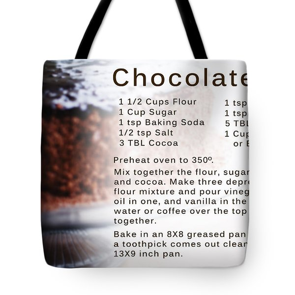 Chocolate Cake Recipe Tote Bag