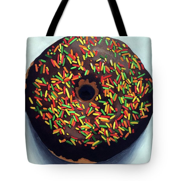 Tote Bag featuring the painting Chocolate Donut And Sprinkles Large Painting by Linda Apple