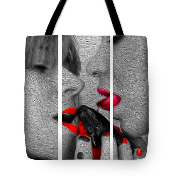 Tote Bag featuring the photograph Chocolate Kiss-tryptych by JD Mims