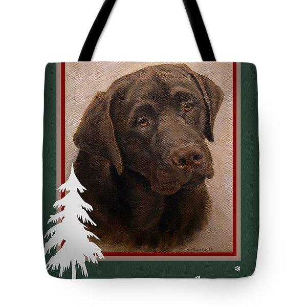Chocolate Labrador Portrait Christmas Tote Bag