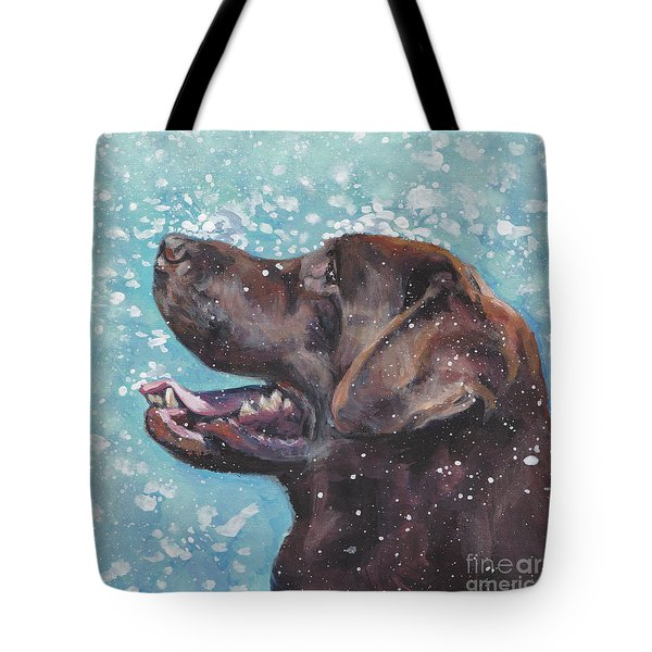 Tote Bag featuring the painting Chocolate Labrador Retriever by Lee Ann Shepard