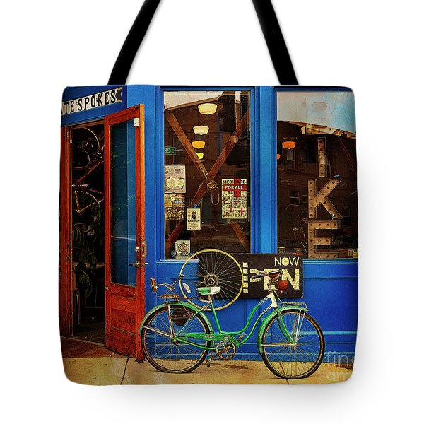 Tote Bag featuring the photograph Chocolate Spokes Bicycle by Craig J Satterlee