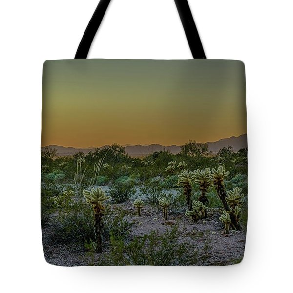 Cholla Desert Sunset Tote Bag