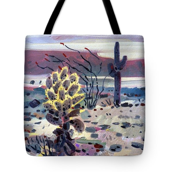 Cholla Saguargo And Ocotillo Tote Bag by Donald Maier