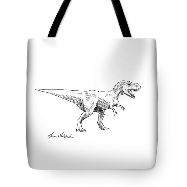 Tyrannosaurus Rex Dinosaur T-rex Ink Drawing Illustration Tote Bag by Karen Whitworth