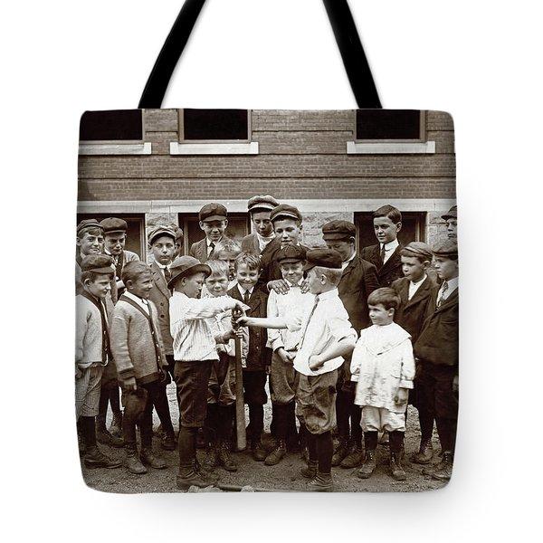 Choosing Baseball Teams Tote Bag