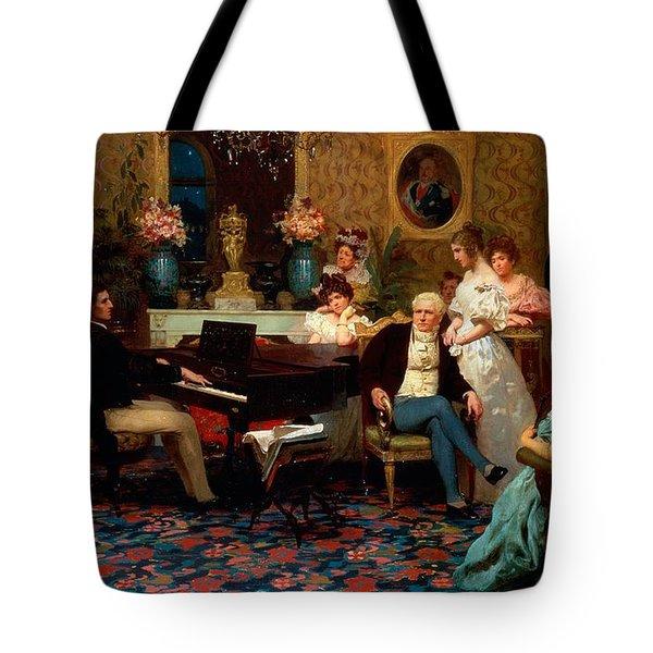 Chopin Playing The Piano In Prince Radziwills Salon Tote Bag by Hendrik Siemiradzki