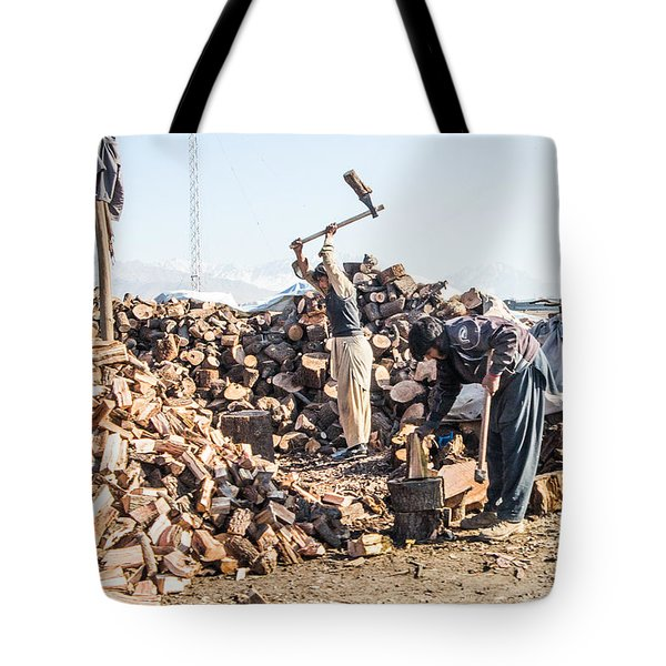 Chopping Wood Tote Bag