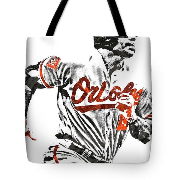Tote Bag featuring the mixed media Chris Davis Baltimore Orioles Pixel Art by Joe Hamilton
