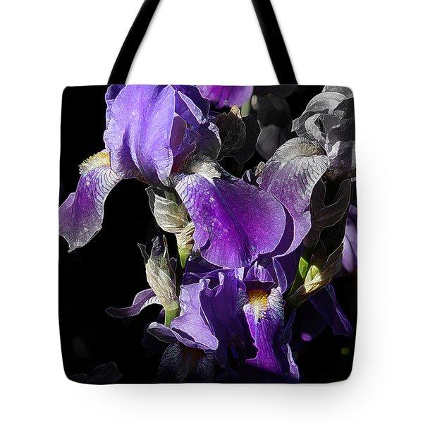 Tote Bag featuring the photograph Chris' Garden - Purple Iris 1 by Stuart Turnbull