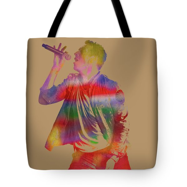 Chris Martin Coldplay Watercolor Portrait On Worn Distressed Canvas Tote Bag