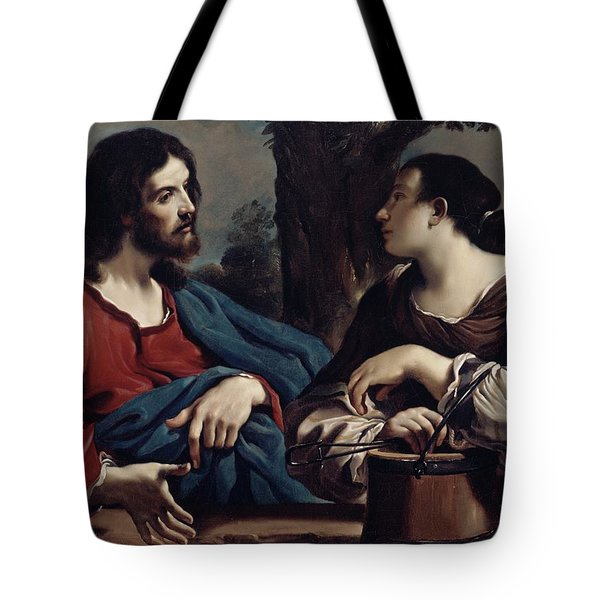 Christ And The Woman Of Samaria Tote Bag by Giovanni Francesco Barbieri Guercino