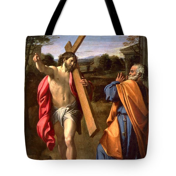 Christ Appearing To St. Peter On The Appian Way Tote Bag by Annibale Carracci