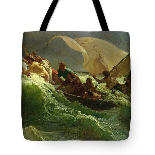 Christ Asleep In His Boat  Tote Bag by Jules Joseph Meynier