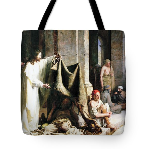 Christ Christ And The Man At The Healing Wel Tote Bag
