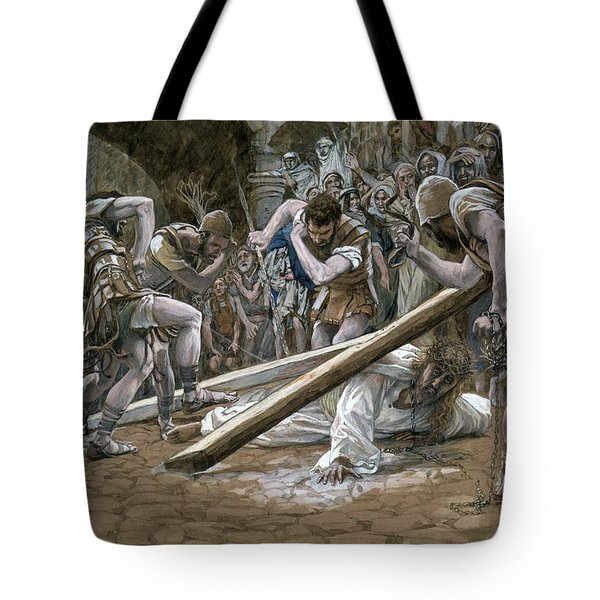 Christ Falls Beneath The Cross Tote Bag by Tissot