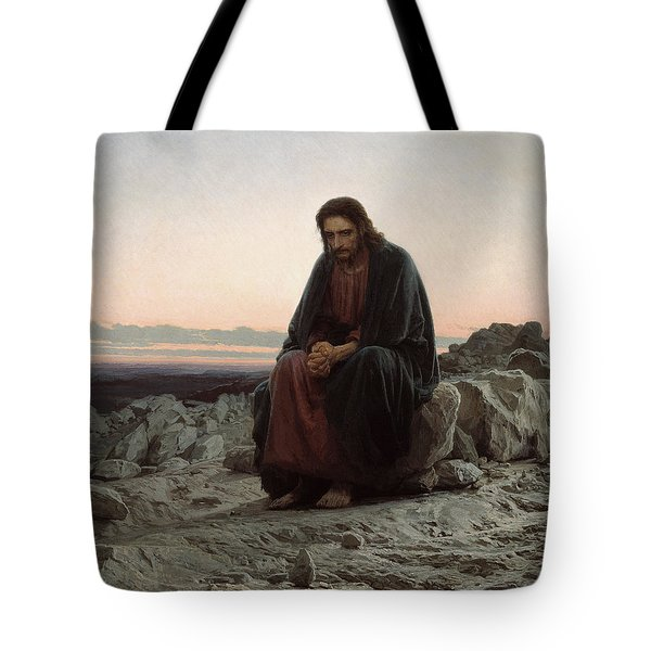 Tote Bag featuring the painting Christ In The Desert by Ivan Kramskoi