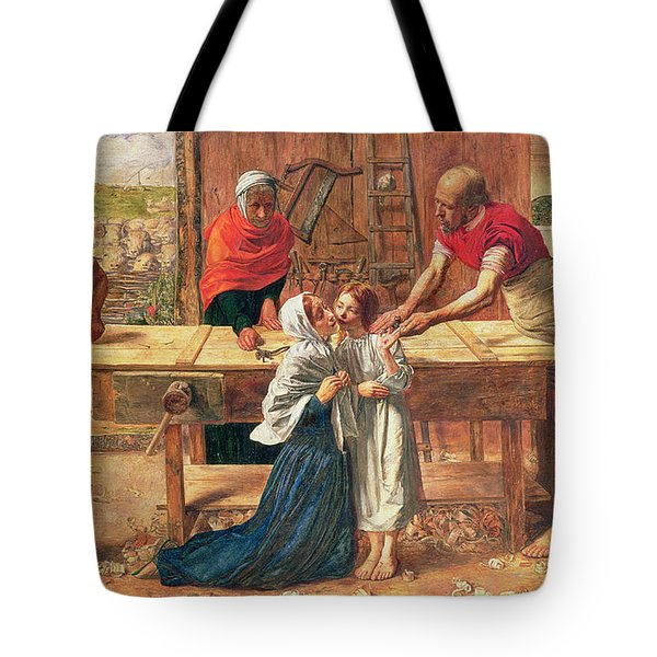 Christ In The House Of His Parents Tote Bag by JE Millais and Rebecca Solomon