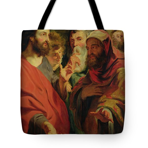 Christ Instructing Nicodemus Tote Bag by Jacob Jordaens