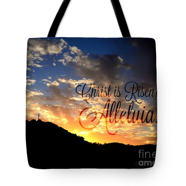Christ Is Risen Tote Bag by Sharon Soberon