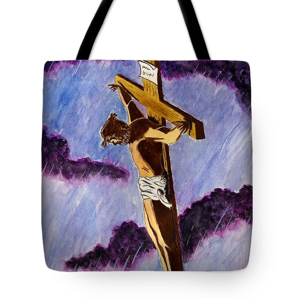 Christ On The Cross Tote Bag by Michael Vigliotti